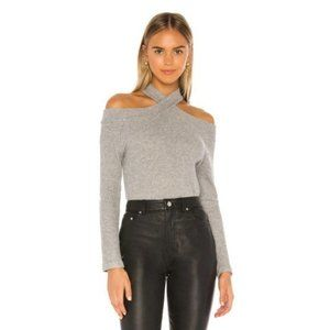 New 1.STATE Gray Cross Neck Cold Shoulder Sweater